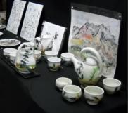 Tea Service with Sumi ink painting