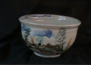 Large salad bowl with landscape decoration